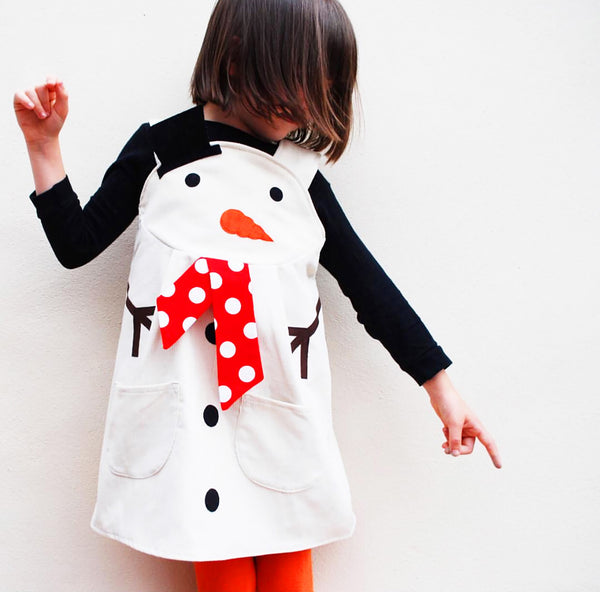 Snowman Girls Dress Up Pinafore