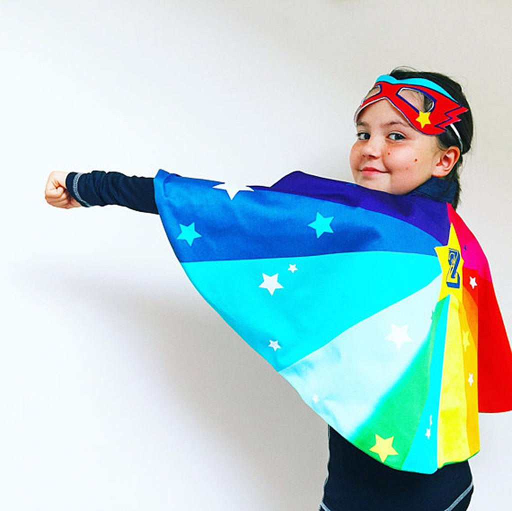 Personalised Rainbow super hero superstar cape & mask. Add power cuffs.