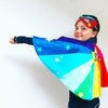 Personalised Rainbow super hero superstar cape & mask dress up. Add power cuffs.