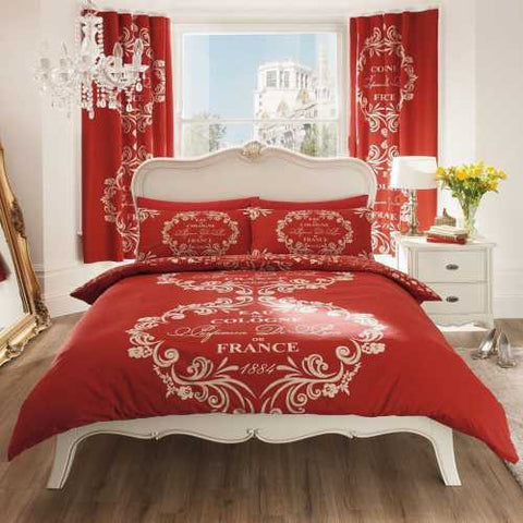 Modern Script Paris Design Duvet Cover with Matching Pillow Case Bedding Set