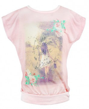 Girls Pink Rose Top