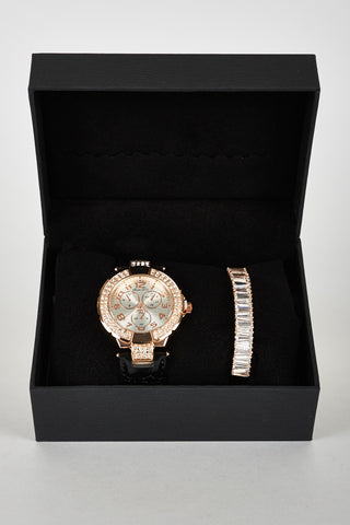 Exclusive Bracelet Gift Set Watch | Diamante And Glass Bead Detail Leatherette Strap