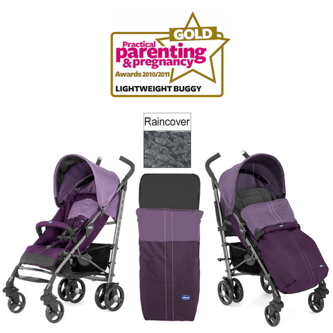 CHICCO PURPLE LITEWAY 2016 STROLLER BIRTH+ PUSHCHAIR WITH RAINCOVER & FOOTMUFF