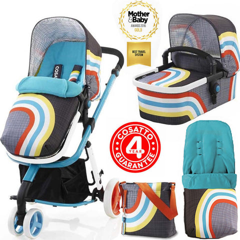New Cosatto Giggle 2,3 in 1 Combi Pram/Pushchair - New Wave with bag & raincover