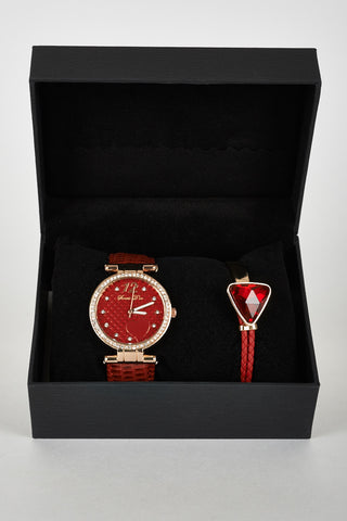 Exclusive Red Heart Detail Bracelet Gift Set Watch Diamante Bead Detail Leatherette Strap
