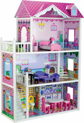 Childrens Pink Large Mansion Wooden Dolls House Fits Full Size Barbie