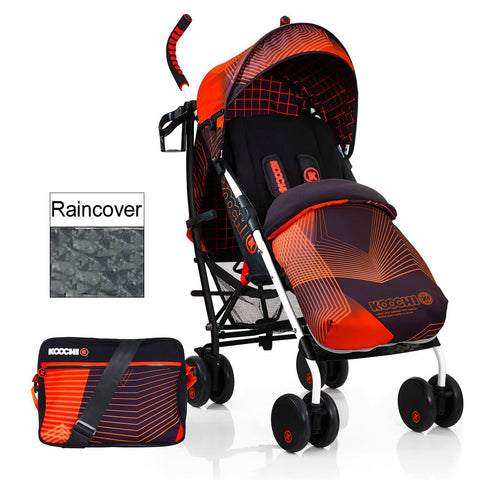 NEW KOOCHI SPEEDSTAR PUSHCHAIR STROLLER ORANGE HYPERWAVE FOOTMUFF BAG RAIN COVER