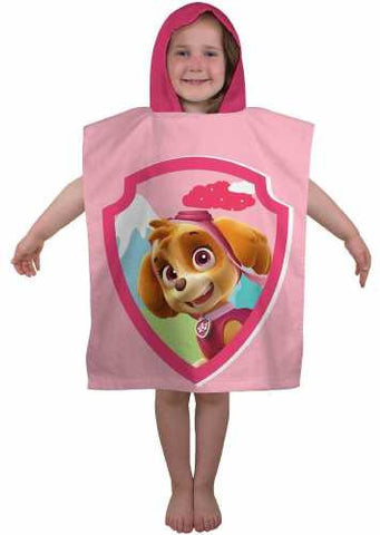 "Girls Official PAW Patrol ""Star"" Skye Character Hooded Towel Poncho"