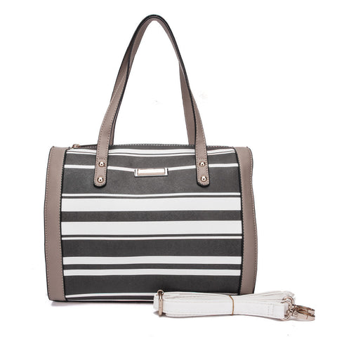 Grey - Sally Young Trendy Striped Women Square Handbags
