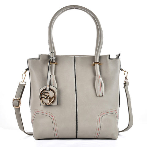 Grey - Sally Young Simple Thread Women Handbags With Pendant