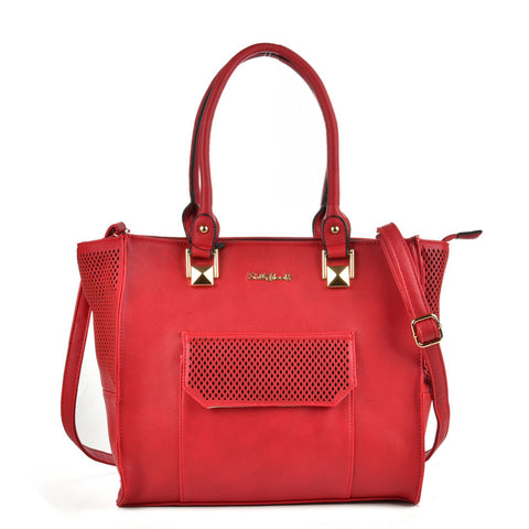 Red - Sally Young Hollow Out Trapeze Women Handbags