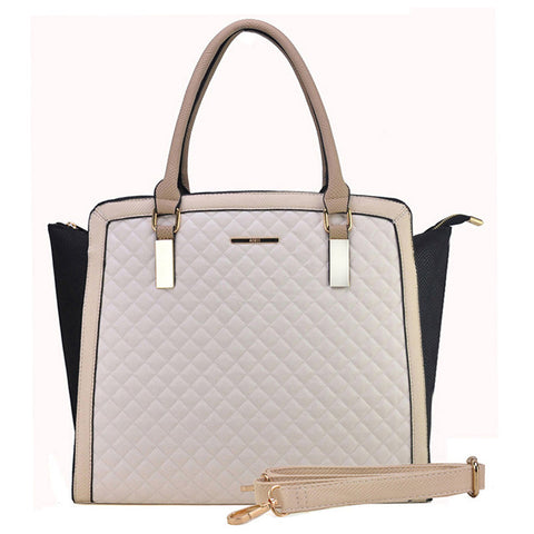 Beige - Fashion Quilted Metal Detail Winged Bag Women Handbag