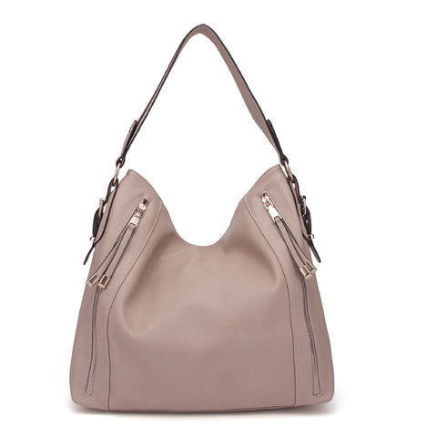 Beige - Fashion Solid Zip Half Moon Women Handbags