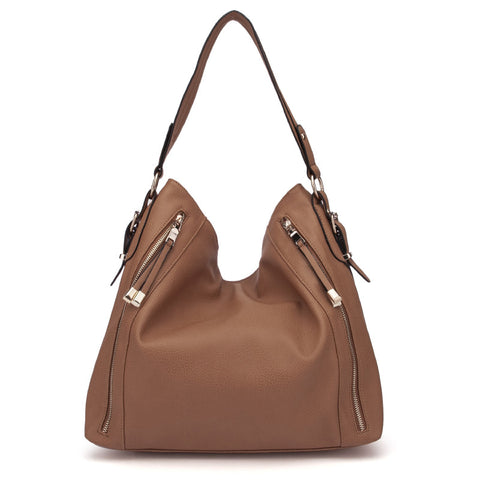 Brown - Fashion Solid Zip Half Moon Women Handbags