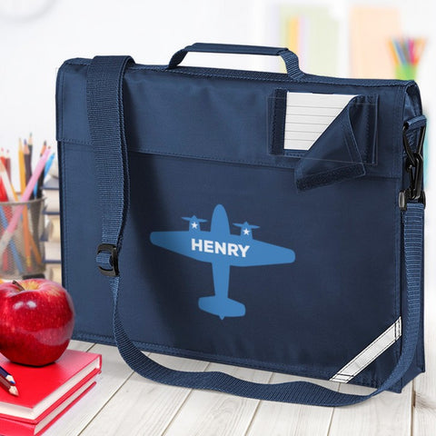 Airplane Personalised School Navy Bag
