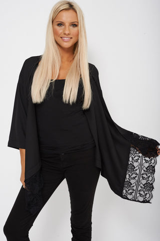 Lace Detailed Black Waterfall Open Asymmetric Cardigan