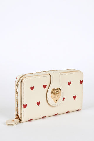 Heart Print Large Purse Cream