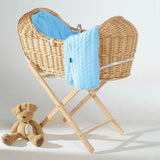 Izzy Pod natural wicker basket with pink Bubble velour fabric