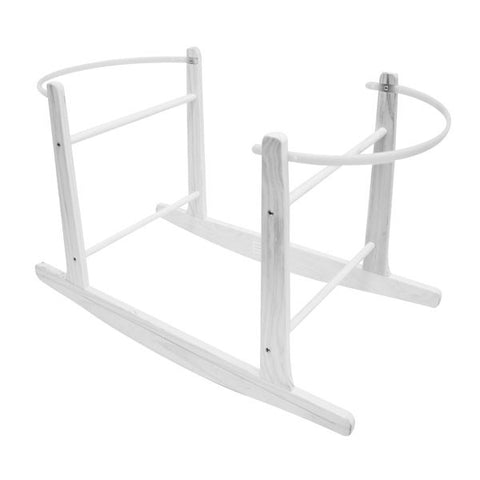 White Wood Adjustable Rocking Moses Basket Stand