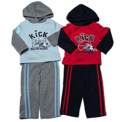 2pc Boys Hood Jog Set Soccer School
