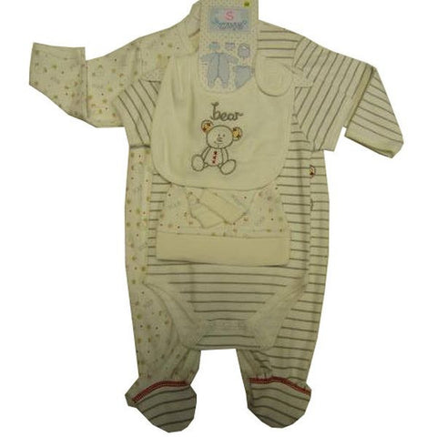 5pc Layette Ecru/light Grey Teddy