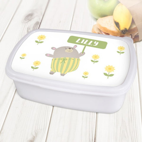 Bear Personalised White Lunch Box
