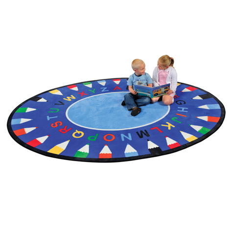 ABC Pencil Learning Rug - Round