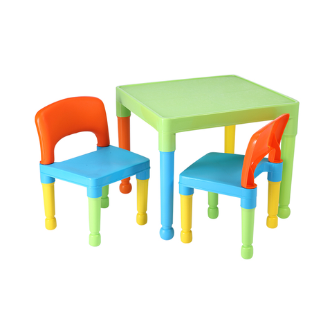 Children's Multi-Coloured Table & 2 Chairs Set