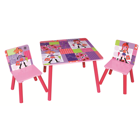 Fashion Girl Square Table & 2 Chairs Set