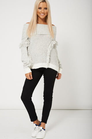 Women Grey Roll Neck Jumper