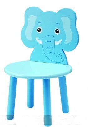 Kids Wooden Blue Elephant Chair