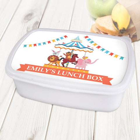 Carnival Carousel Personalised White Lunch Box