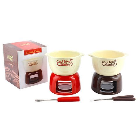 Choc Fondue Set With Forks Set of 2