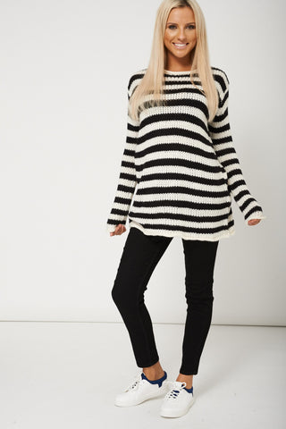 Trendy Open Neck Knit Long Sleeve Jumper