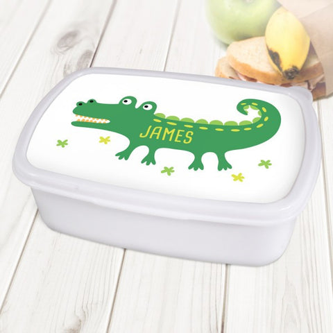 Crocodile Personalised White Lunch Box