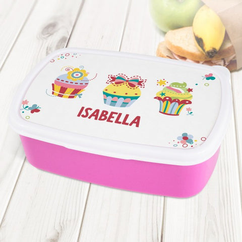 Cupcakes Personalised Pink Lunch Box