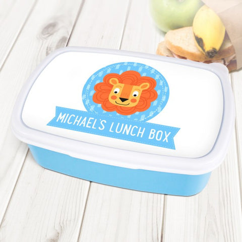 Cute Lion Personalised Blue Lunch Box