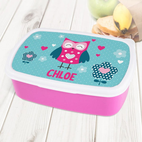 Cute Owl Personalised Pink Lunch Box
