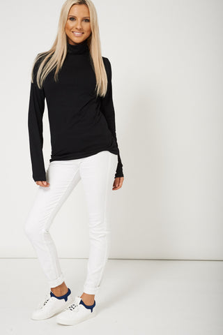 Cotton Blended High Neck Black Top Available In Plus Sizes