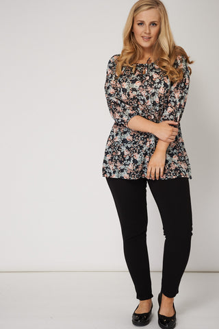 Tie Neck Top In Floral Design