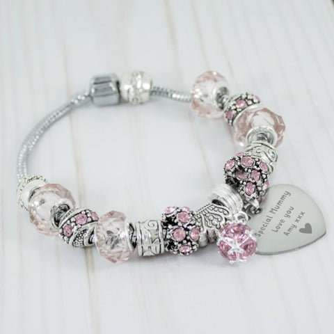 Engraved Special Mummy Charm Bracelet - Pink