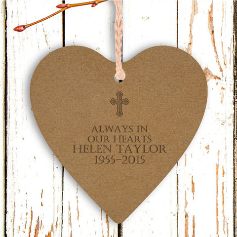 Engraved Wooden Heart Tree Decoration - Cross