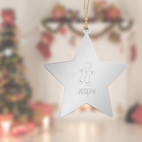 Gingerbread Engraved Star Tree Decoration