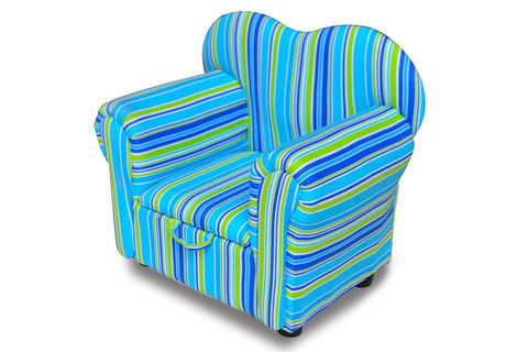 Kids' Blue/Green Stripey Chair with Storage