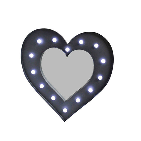 Heart Led Mirror Light Black PREORDER