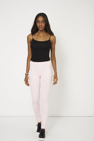 Pink Lounge Wear Trousers With Ribbon Details