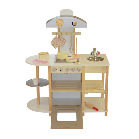 Breakfast Bar Wooden Toy Kitchen with accessories