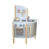 """Little Chef"" Contemporary Wooden Toy Kitchen - Grey - with accessories"