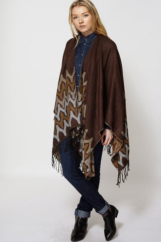Abstract Print Fringed Open Poncho Cape