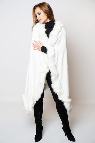 Julia Ivory Faux Fur Cape Knitted Poncho